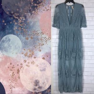 Dusty Blue Maxi Lace Romper